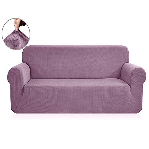 (Polar Fleece Fabric Universal Sofa Cover Stretch Pattern Checked sofacovers Washable Removable Couch Covers Slipcovers loveseat,Lilac,AB 90-140cm)