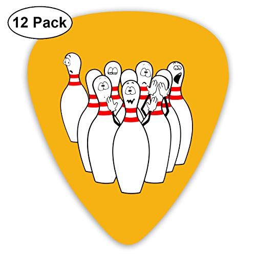 Unique Designs Guitar Picks - Humorous Bowling Pictures Funny Bowling Clipart Guitar Picks -Premium Music Gifts & Guitar Accessories For Boys-12 Pack