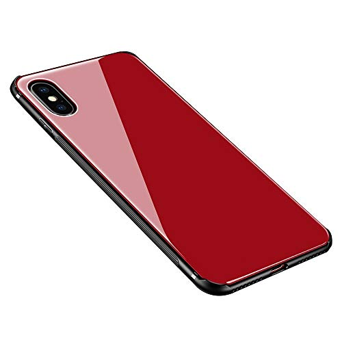 Case Compatible with iPhone Xs,Luhuanx Tempered Glass Case Back Cover+ TPU Frame Hybrid Shell Slim Case for iPhone Xs in 5.8 inch,Anti-Scratch (Drop) 2018 case (Red 02)