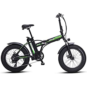 LIMQ Fat Tire Electric Bike 20″ Foldaway/City Electric Bike Assisted Electric Bicycle Sport Mountain Bicycle with 500W 48V 15AH Lithium Battery,Black