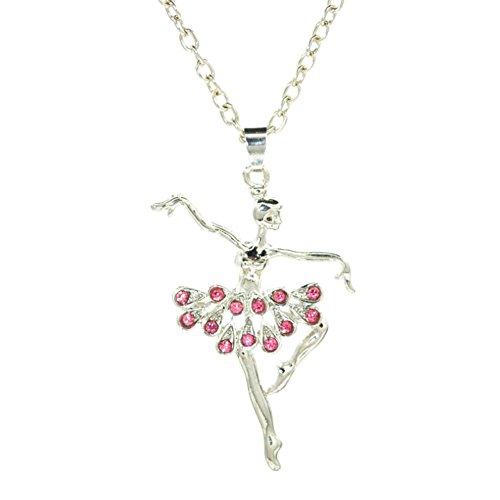 Wxbox Childrens Delicate Gift Dancing Ballerina Dancer Ballet Dance Pendant Necklace Charm (Pink)
