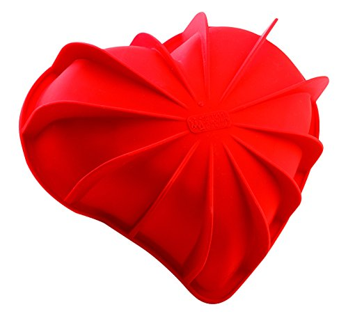 Silikomart SFT 211 Heart Mould Red 205 x 186 H 54 - Red Bombe
