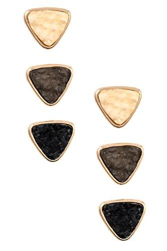 Trifari Triangle Earrings (GlitZ Finery Faux Druzy Triangle Shape Post Earring (Ivory/Black))