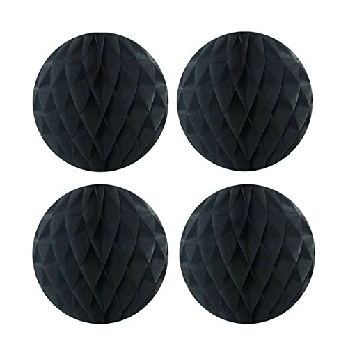 Wrapables Tissue Honeycomb Ball Party Decorations for Weddings, Birthday Parties, Baby Showers and Nursery Decor (Set of 4), 8, Black