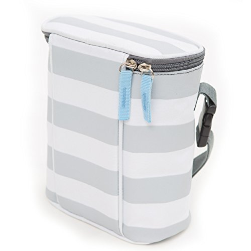 Bula Baby Versatile Insulated 2 Bottle Tote Bag - Keep 2 Bottles Warm or Cool - Grey Stripe Ideal Gift