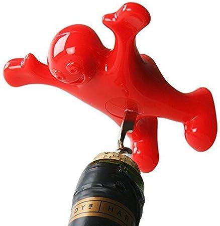 Smartlife tapón para botella de vino y abridor Set, incluye tres Cute rojo hombres de novedad abrebotellas, sacacorchos y tapón para los hombres y las mujeres