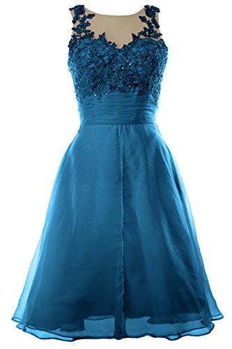 MACloth Women Straps Lace Chiffon Short Prom Dress Homecoming Formal Gown Teal