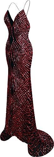 Ausschnitt Angel Spaghetti Damen Zug Ballkleid fashions Bügel V Sweep Paillette Meerjungfrau Rot wqqYTr