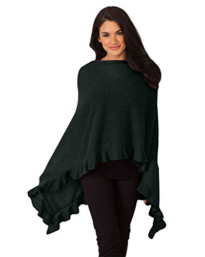 Alashan Cashmere Company Claudia Nichole Draped Ruffled Edge Dress Topper (Ebony) by Alashan Cashmere