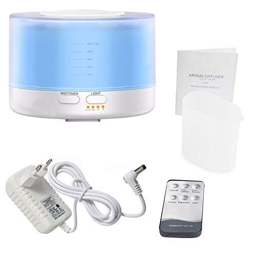 SODIAL Humidificateur Ultrasonique /à T/él/écommande DArome dair DUe de Prise 500Ml avec Le Diffuseur /électrique DArome DHuiles Essentielles DAromatherapy de Lumi/ères de Couleur