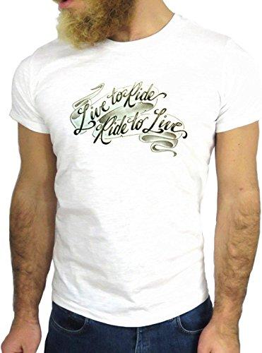 T SHIRT JODE Z3145 TATTOO LIVE TO RIDE RIDE TO LIVE COOL FUN WRITE TATUAGGIO GGG24 BIANCA - WHITE XL