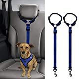 REFURBISHHOUSE 2 Packs Dog Cat Safety Seat Belt Strap Car Headrest Restraint Adjustable Nylon Fabric Dog Restraints Vehicle Seatbelts Harness Navy blue