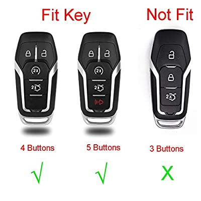 Royalfox(TM) Aluminum Remote 4 5 Buttons Smart Key Case Cover Fob for Ford Mustang Explorer Taurus F-150,Lincoln MKZ MKC MKX,Remote Key Pouch Bag with Key Rings Kit Keychain (Rose Gold)