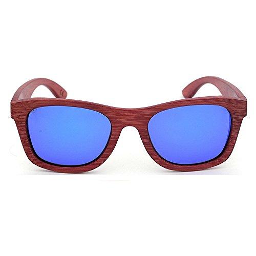 Convient écologique Protection lentille et Polyvalent UV400 pour en Femmes quotid Rouge Gububi Utilisation Bleu pour Couleur Lunettes Couleur de Hommes Bambou Soleil rétro extérieure Une Bleu pqW0aw7