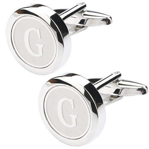 (Dannyshi Mens Classic Stainless Steel Initial Cufflinks 26 Alphabet Initial Letter Cufflinks Business Wedding Shirts A-Z (G))
