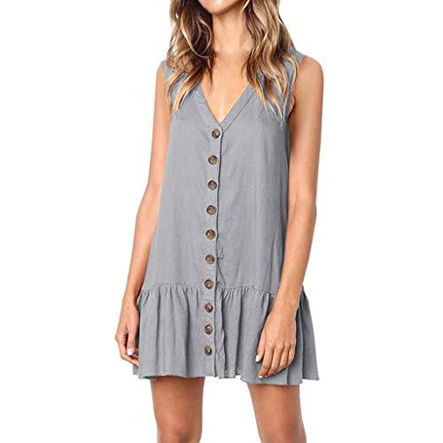 ℱLOVESOOℱ Womens Summer Casual Sling V Neck Button Pure Color Mini Dress Loose Fit Ruffle Short Dress Tank Dress Gray