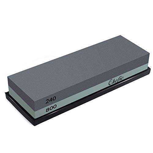 BearMoo Premium Whetstone 2-IN-1 Sharpening Stone 240/800 Grit Waterstone Kit - Knife Sharpener Stone Safe Honing Holder Silicone Base Included, Polishing Tool for Pocket Knives,Blades (220 Grit Diamond)