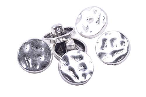 - KONMAY 30pcs Antique Silver Metal Buttons with Shank for Bracelet Wrapping, Sewing,Crafting