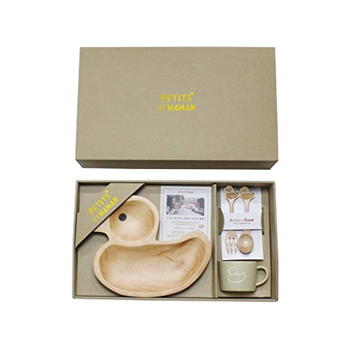 Time Concept Kids Petits Et Maman Wooden Dinnerware - Duck Design Gift Set - Plate, Spoon & Fork Cutlery, Mug