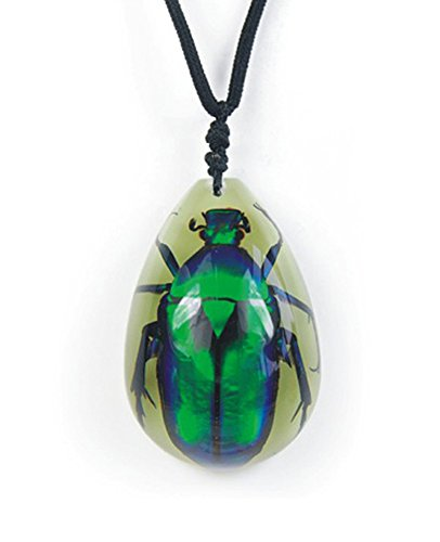 Green Chafer - Glow in The Dark Lucite Nylon Cord Necklace w/ REAL Green Rose Chafer Beetle