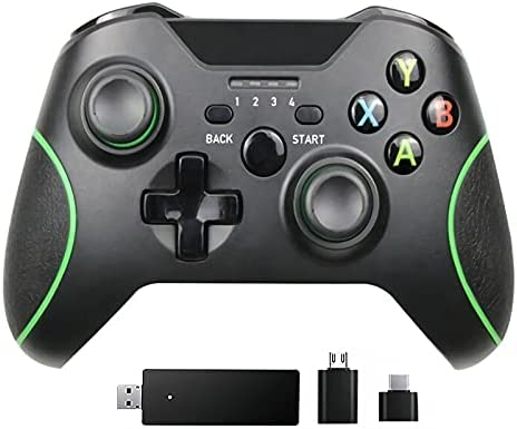 CXZ Enhanced Wireless Controller for Xbox One, Built-in Dual Vibration 2.4GHZ Wireless PC Game Controller, Compatible with Xbox One/S/X/Elite, PS3, Windows10/8/7, Android Phone (Black)