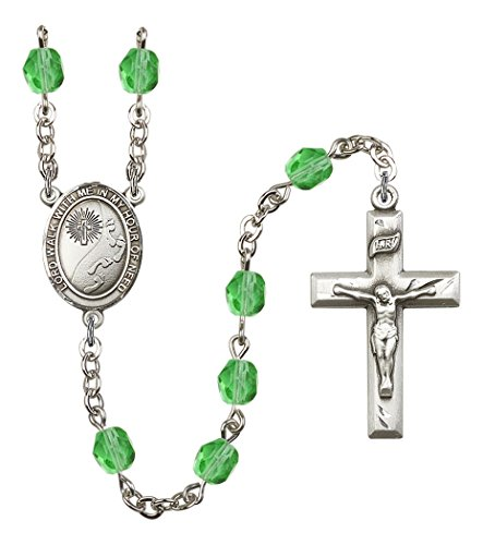 August Birth Month Prayer Bead Rosary with Footprints with Cross Centerpiece, 19 Inch