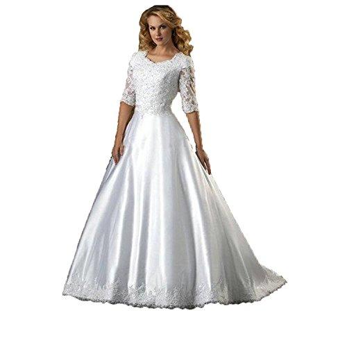 Fenghuavip Half Sleeves Lace Floor Length Train White Bridal Wedding Dress (24w)