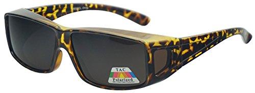 - Polarized Wear Over Sunglasses Square Fit Over Glare Blocking Over Prescription Glasses (Tortoise | Amber Lens, 65)