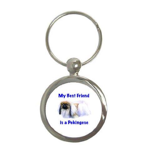 (My Best Friend is Pekingese Round Keychain)