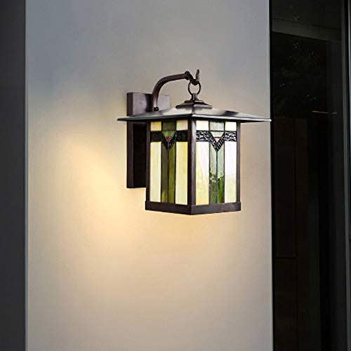 LITFAD 1 Light Sconce Light Fixture Tiffany Stylish Wall Light Lantern Stained Art Glass Wall Mounted Lighting