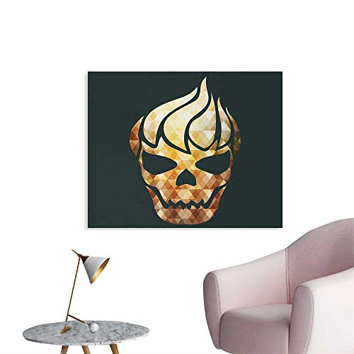 Tudouhoho Modern Art Poster Gothic Skull with Fractal Effects in Fire Evil Halloween Concept Wall Paper Yellow Light Caramel Dark Grey W32 xL24 -