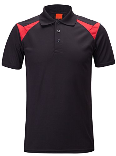 Shirt Tennis Dri Fit (ZITY Dri Fit Shirt Quick-Dry Sweat-Wicking Sports Golf Tennis T-Shirt Black and Red US L/Label 2XL)
