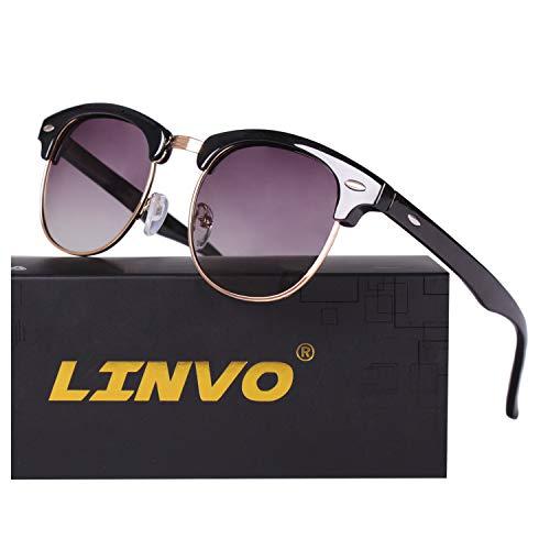 LINVO Classic Semi Rimless Half Frame Polarized Sunglasses for Men Women UV400