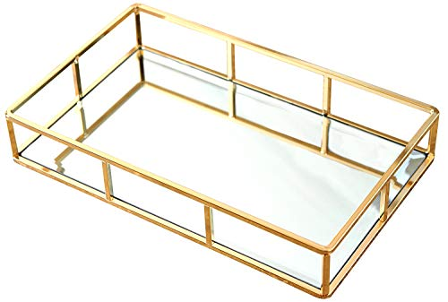 PuTwo Tray Mirror, Gold Mirror Tray Perfume Tray Mirror Vanity Tray Dresser Tray Ornate Tray Metal Decorative Tray Tray Jewelry Perfume Organizer Makeup Tray for Vanity, Dresser, Bathroom, Bedroom (Best Super Bowl Box Numbers To Have)