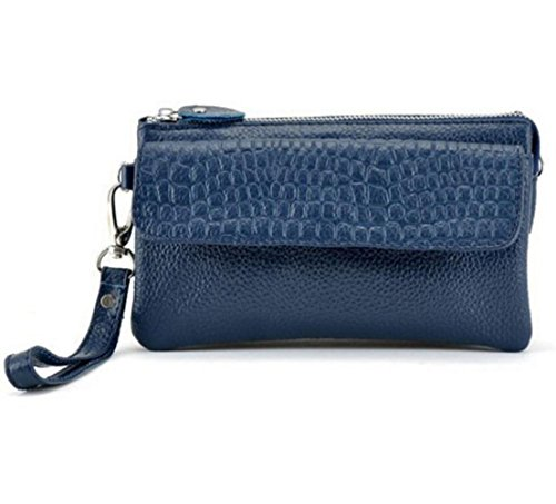 with Capacity Cross Zip Wallet Bag Strap Blue Women's Wrist Ladies Small Bag Clutch with DcSpring Genuine Long body Shoulder Leather Elegant Bag Organizer Large fv1WxB