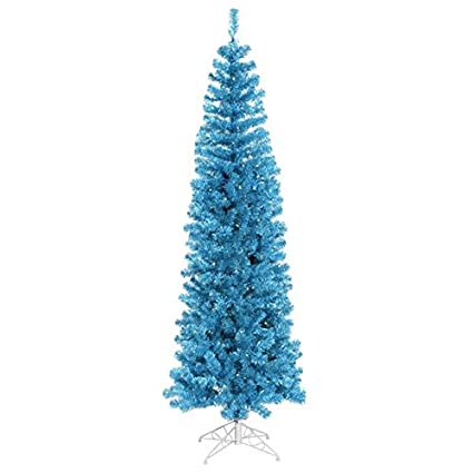Vickerman Pre-Lit Sky Blue Artificial Pencil Tinsel Christmas Tree with Blue  Lights, 12 - Amazon.com: Vickerman Pre-Lit Sky Blue Artificial Pencil Tinsel