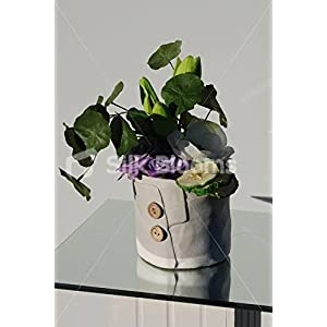 Artificial Green Tulip & Anemone Ceramic Button Vase Display 10