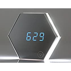 VASTING ART Mirror Digital Alarm Clock Portable Rechargeable Night Light with Temperature for Bedroom Table Lamp,White