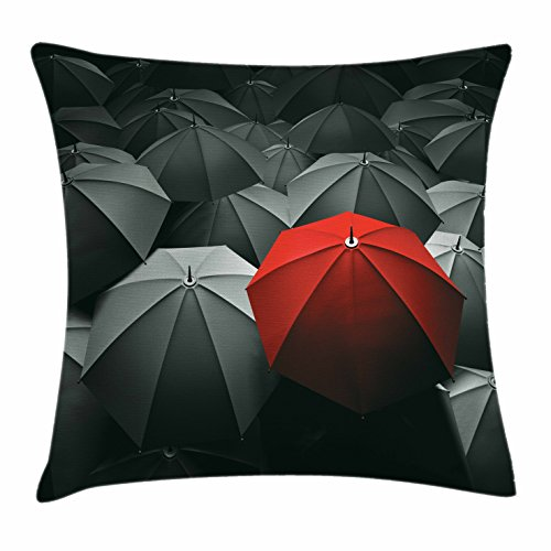 Ambesonne Red and Black Throw Pillow Cushion Cover by, Happiness in Sadness Symbol Art Rainy Stormy Day Umbrellas Photo, Decorative Square Accent Pillow Case, 18 X 18 Inches, Charcoal Grey (Picture Photo Pillow)
