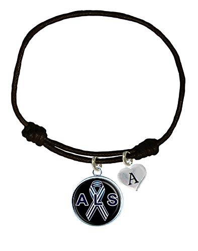 Holly Road ALS Lou Gehrig's Disease Awareness Black Leather Unisex Bracelet Jewelry Choose Initial -