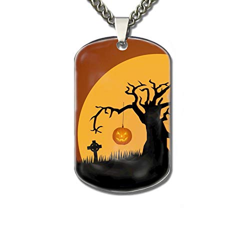 PANQJN Dog Tag Chains-Halloween Sayings Feature Family pet Identification Card -