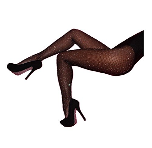 Lavany Women's Sexy High Waist Tight Pantyhose Fishnet Stockings (Plus Size Glitter Tights)