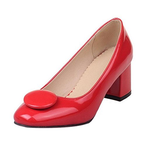 TAOFFEN Women Fashion Thick Mid Heel Slip On Square Toe Court Shoes Red