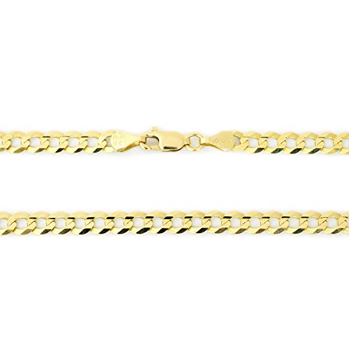 Solid 10k Yellow Gold 4.7 Millimeters Comfort Cuban Curb Chain Bracelet, 8 Inches