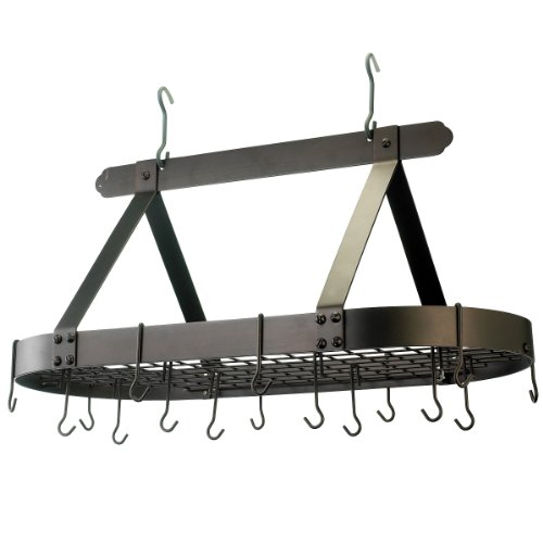 Old Bronze Hanging (Old Dutch Oval Steel Pot Rack w. Grid & 16 Hooks, Oiled Bronze, 36