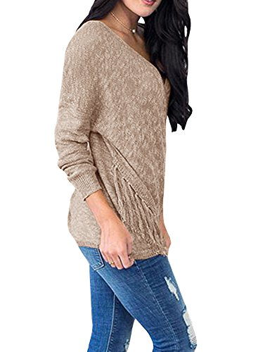 Womens Sweaters Long Wrap V Neck Off The Shoulder Fringe Knit Pullover Sweater Tunic Tops by Farktop (Image #2)