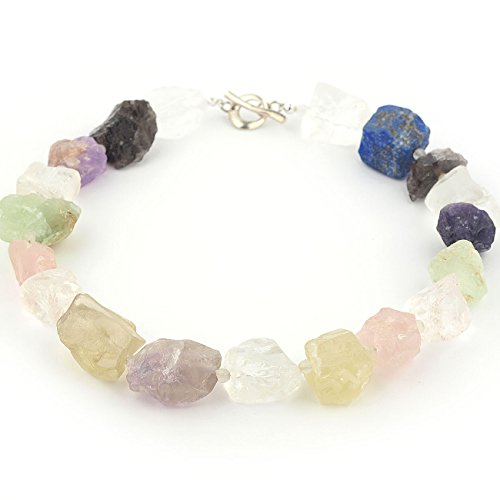 Chunky beaded necklace made of stone mix Fluorite Citrine Amethyst Rose Quartz Smokey Quartz Lapis Lazuli in green purple yellow blue color with sterling silver 18,11 inch length
