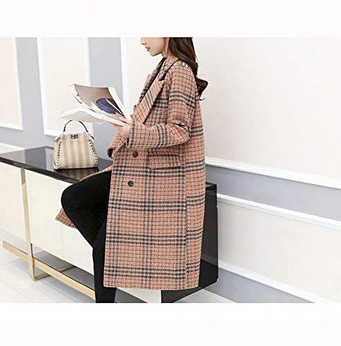 rouge large écossaise Veste moyen manteau et femmes de printemps Nizi laine col croisée des Xqy automne long pwApq1a6