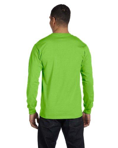Hanes Tagless Long-Sleeve T-Shirt 1 Deep Red + 1 Lime
