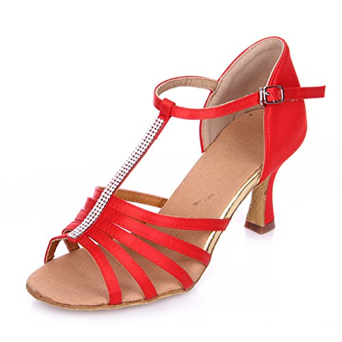 chaussures Wymname Chaussures Danse Womens De Latine Diamant Rouge Rumba Sociale PPFw1
